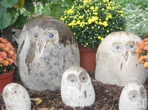 Granite Boulder Owls by Stone Age Creations.